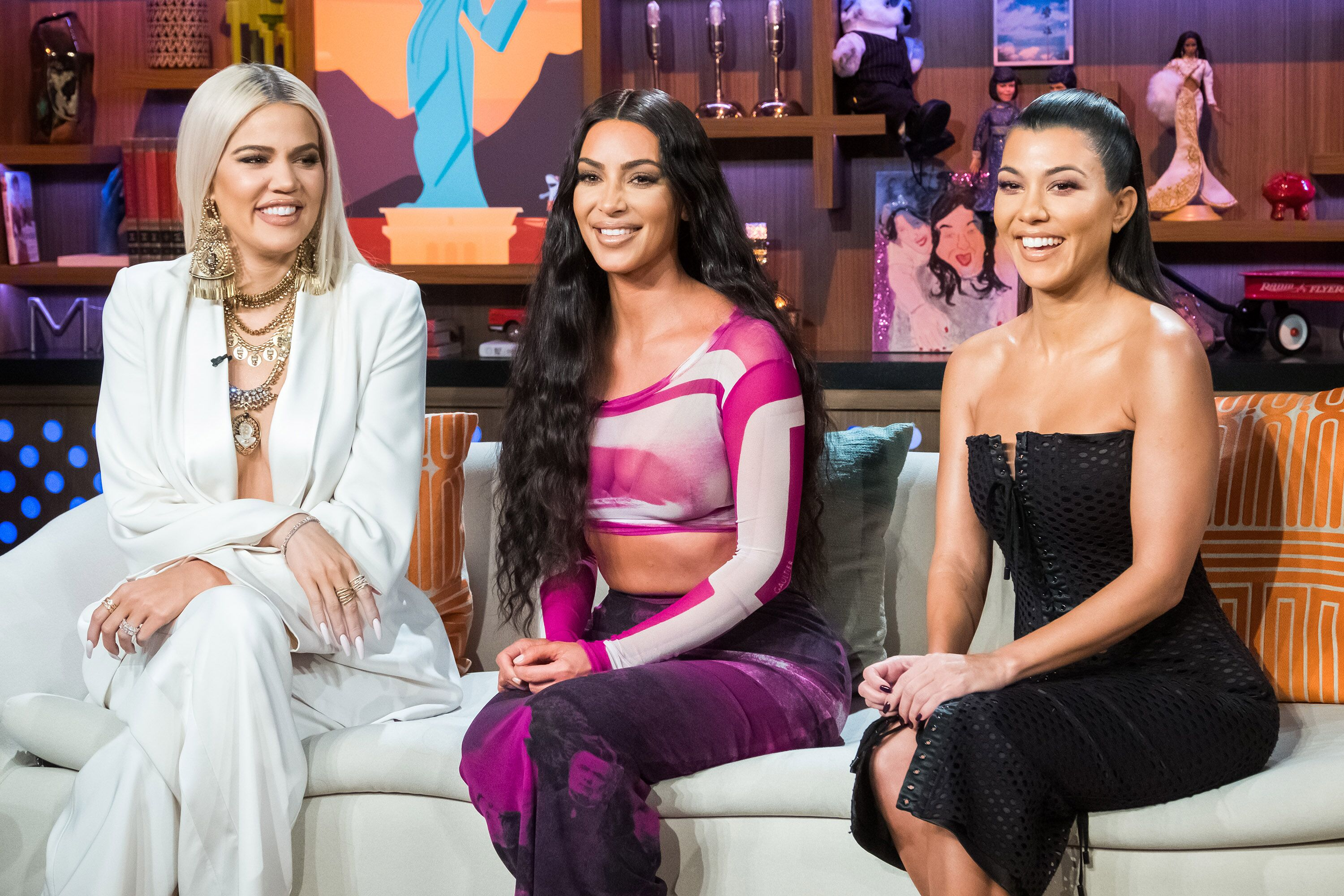 """Khloe, Kim, and Kourtney Kardashian on """"Watch What Happens Live With Andy Cohen"""" on January 14, 2019 