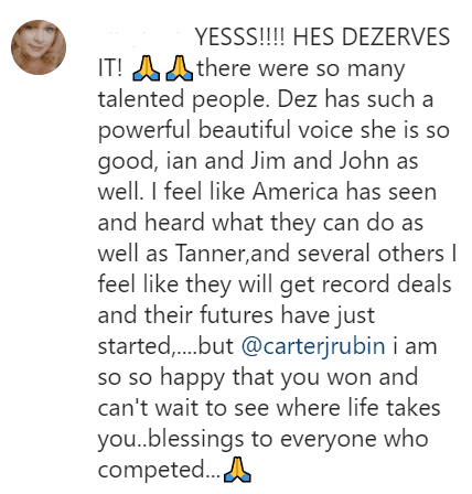 "A fan comments on ""The Voice's"" winner announcement for season 19 on December 15, 2020 
