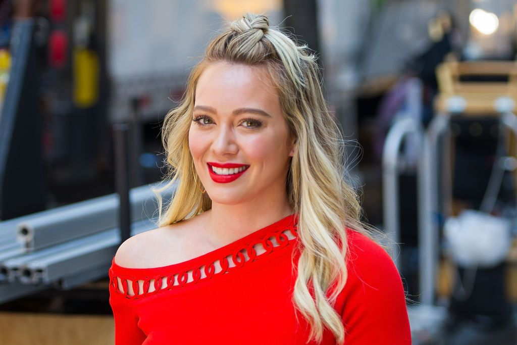 """A portrait of Hilary Duff while filming """"Younger"""" in Union Square on June 12, 2017 in New York City 