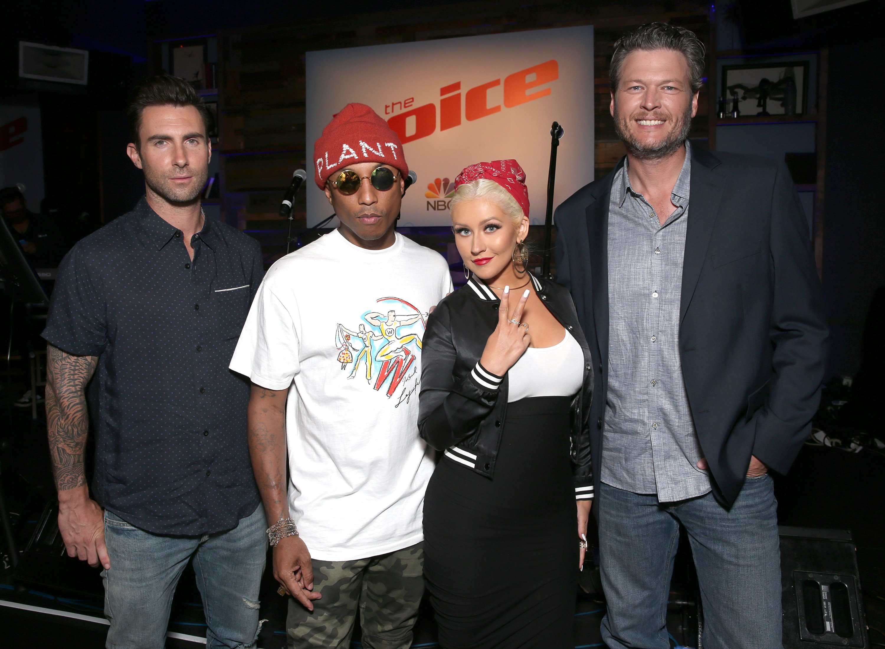 """Adam Levine, Pharrell Williams, Christina Aguilera and Blake Shelton at """"The Voice"""" Karaoke For Charity on April 21, 2016 
