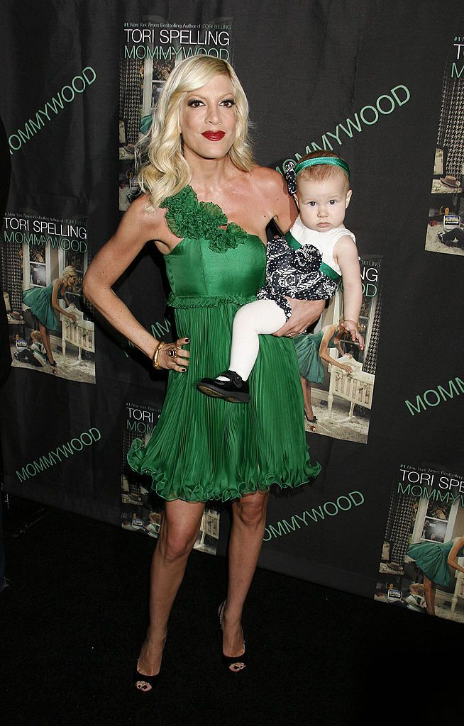 "Tori Spelling and daughter Stella Doreen at the release party for her new book ""Mommywood"" on April 13, 2009, in Beverly Hills, California 