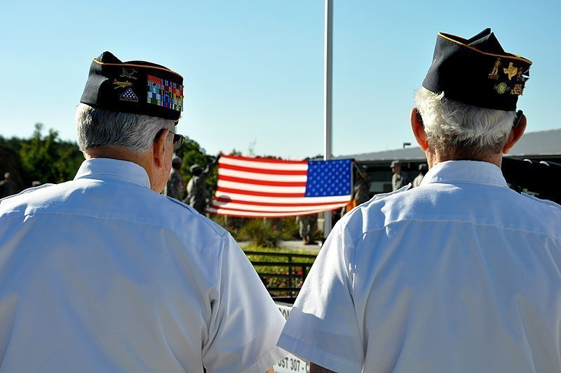 Veterans of American Legion Post 307 observe the first flag ceremony held at the new Cumming Regional Readiness Center.   Source: Wikimedia Commons