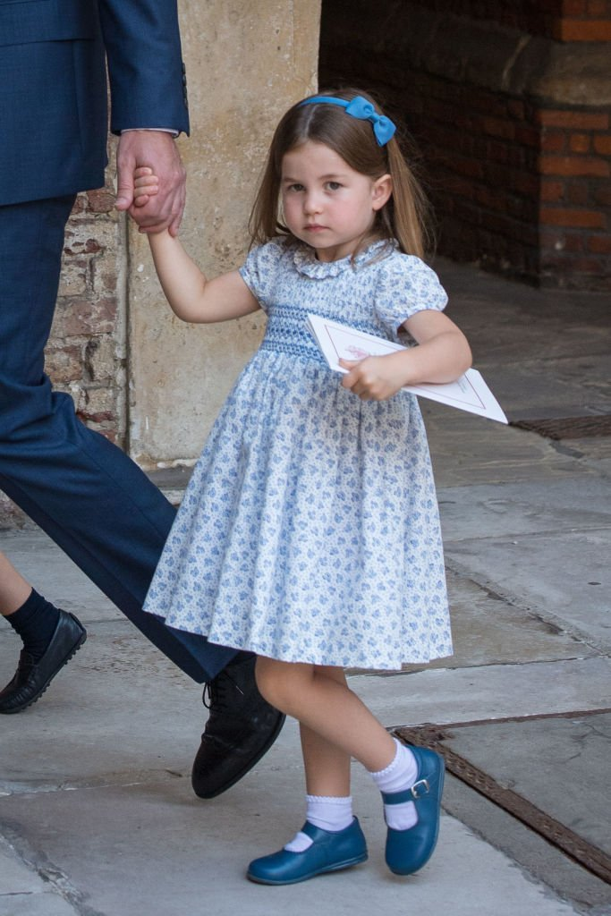 Princess Charlotte of Cambridge leaves after Prince Louis of Cambridge's christening at the Chapel Royal, St James's Palace, London   Photo: Getty Images