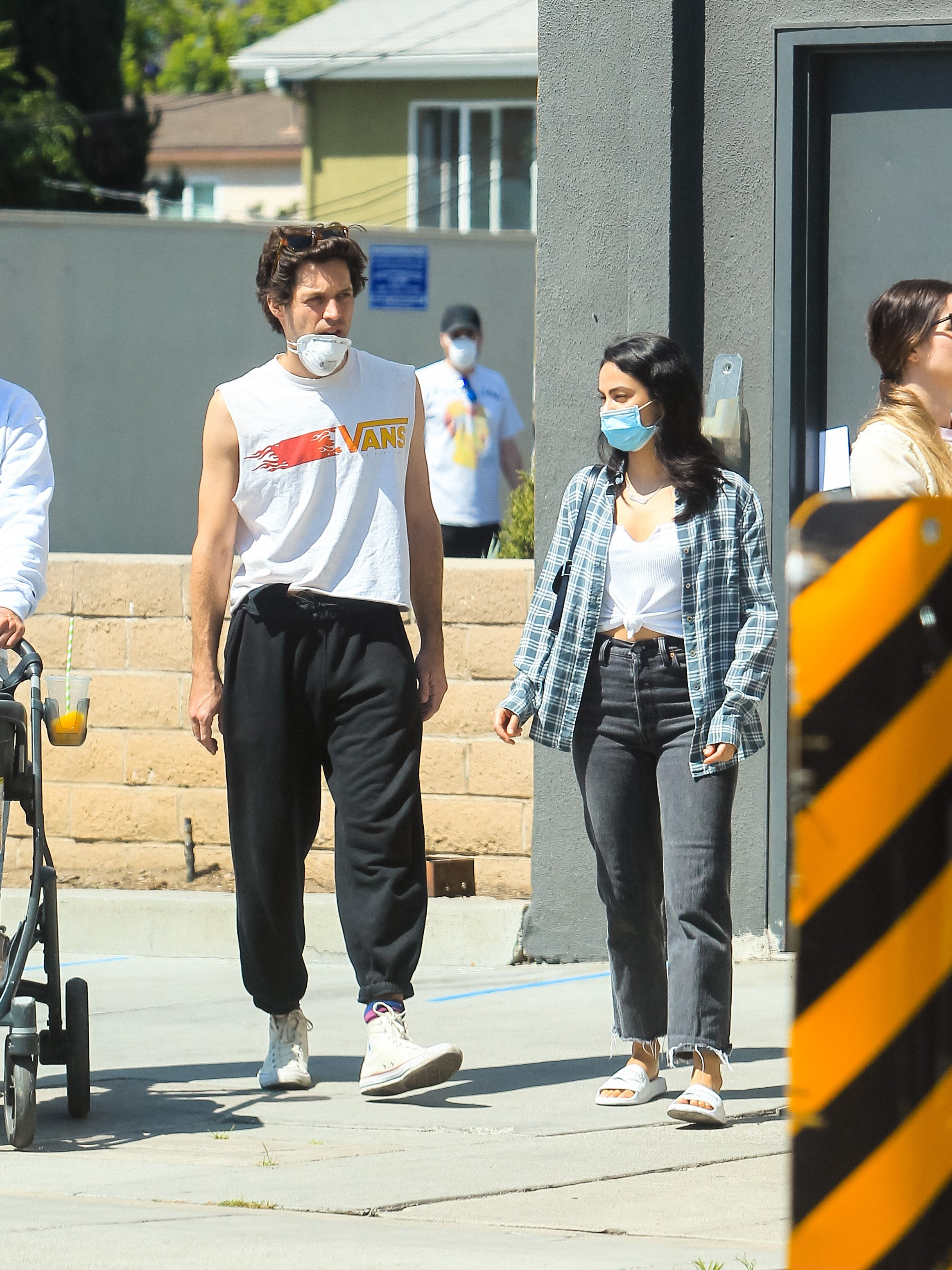 Camila Mendes and boyfriend Grayson Vaughan having a morning coffee run in Los Angeles. | Photo: Getty Images