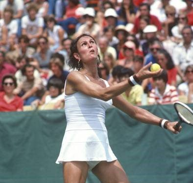 Renee Richards sets to serve during the Women's 1977 US Open Tennis Championships circa 1977 at Forest Hills   Photo: Getty Images
