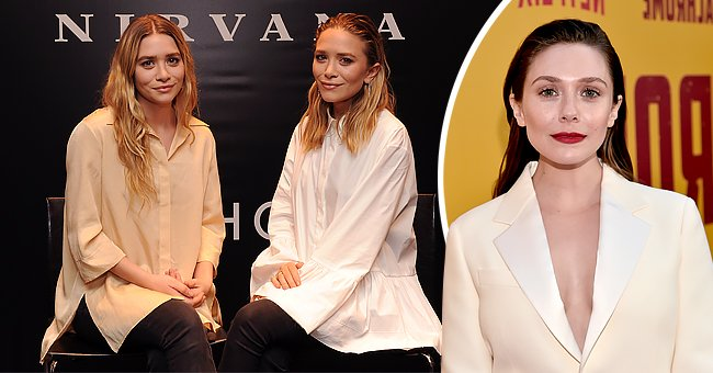 """Ashley Olsen and Mary-Kate Olsen attend the Elizabeth and James SEPHORA VIB ROUGE event on March 12, 2014 in New York City, the next photo shows their younger sister Elizabeth Olsen attending the premiere of Netflix's """"Kodachrome"""" at ArcLight Cinemas on April 18, 2018 in Hollywood, California 