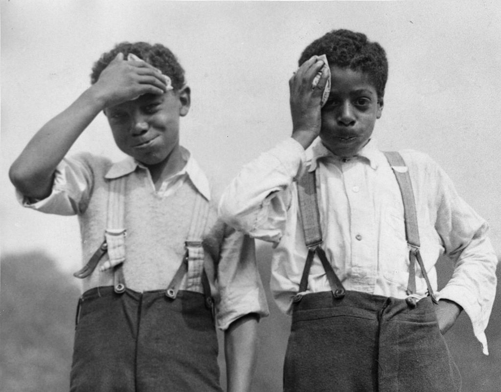 Boys from Cardiff with their handkerchiefs, circa 1933   Source: Getty Images