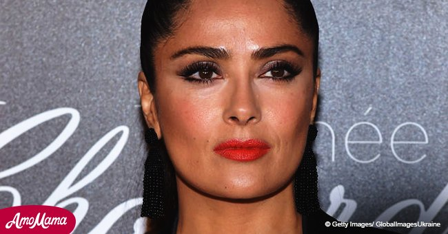 Salma Hayek, 51, looks much younger in a black-and-blue spring dress in her recent video