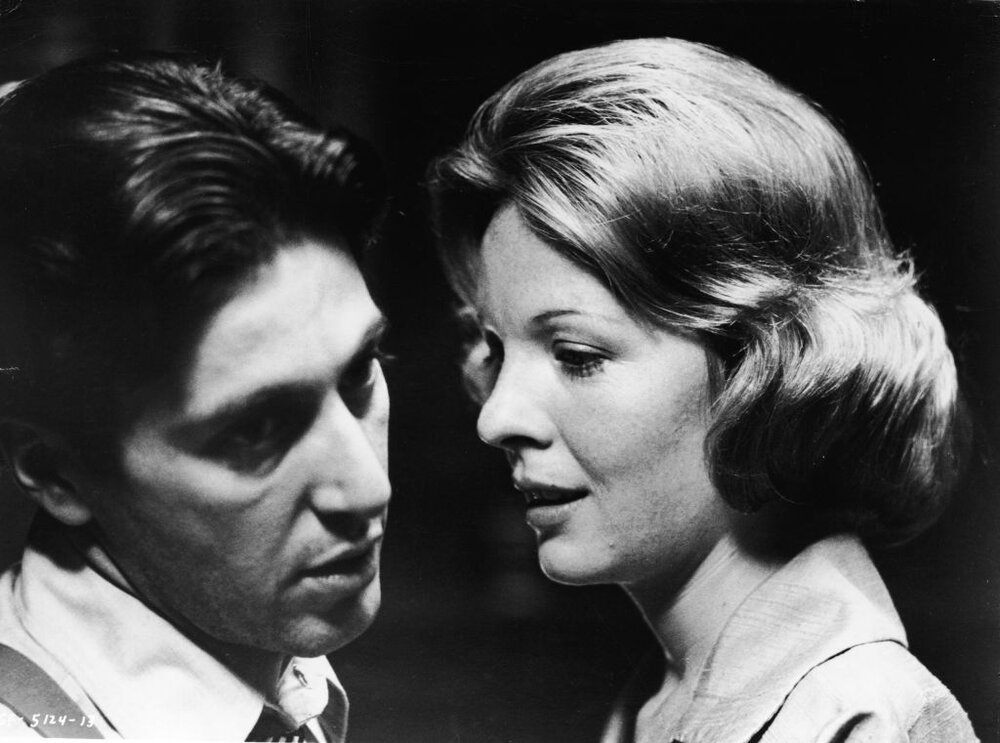 "Al Pacino and Diane Keaton in a scene from ""The Godfather"" by filmmaker Francis Ford Coppola and released1972. 