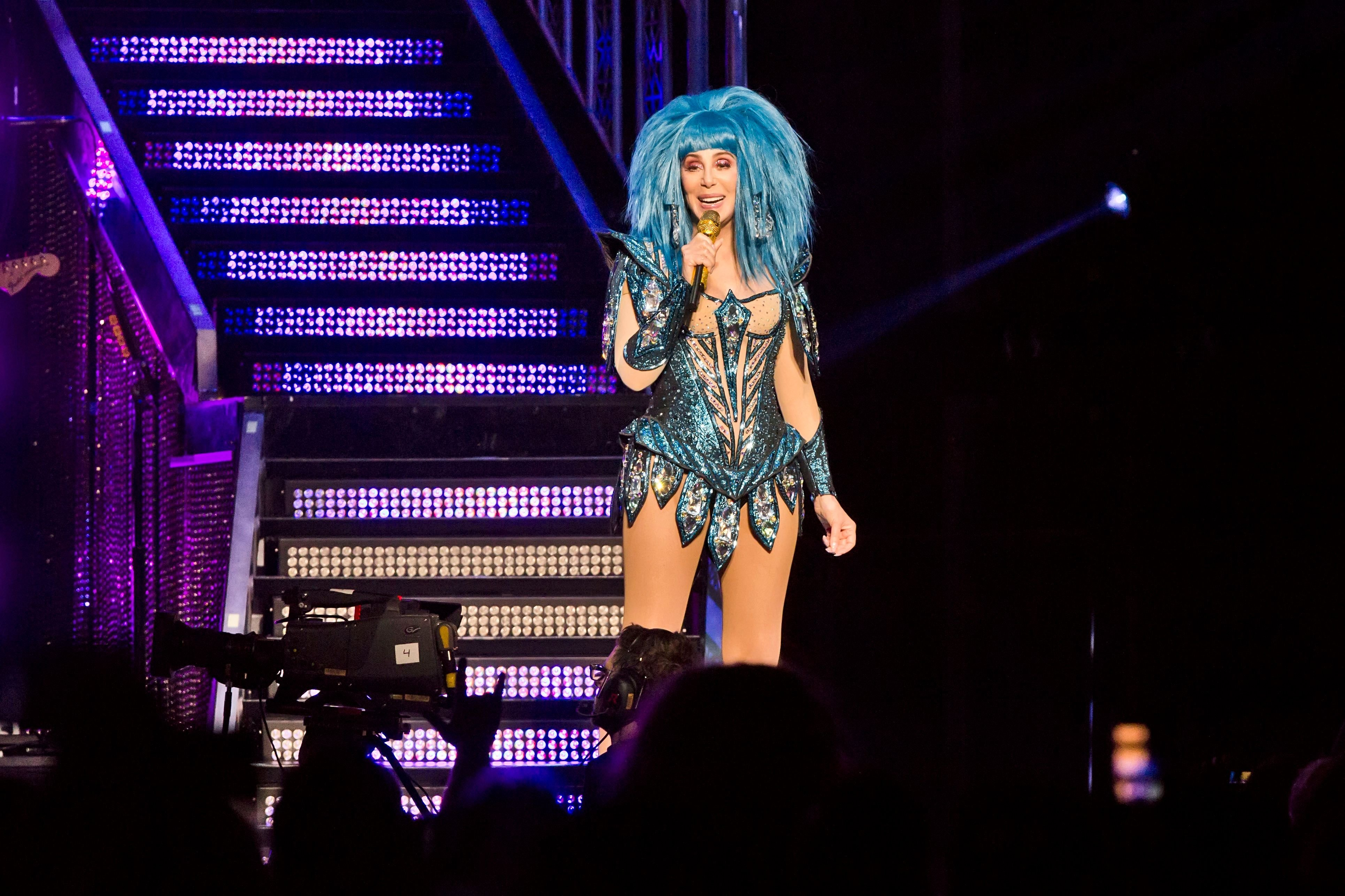 Cher on stage during a concert in 2019 in Berlin, Germany   Source: Getty Images