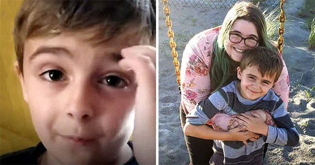 A picture of 7-year-old Rowyn Montgomery on the left and a picture of him with his mother Michelle Montgomery on the right. │Source:  youtube.com/Good Morning America