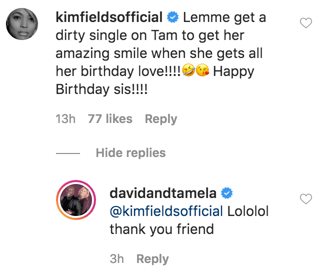 Kim Fields commented on a photo of Tamela Mann posted by her husband David Mann in honor of her birthday | Source: Instagram.com/davidandtamela