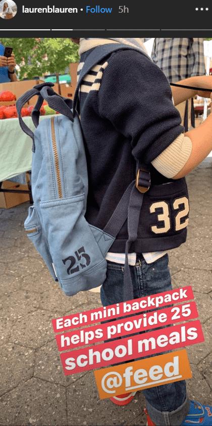 Lauren Bush's three-year-old son James carrying a backpack as he gets ready for school | Photo: instagram.com/laurenblauren