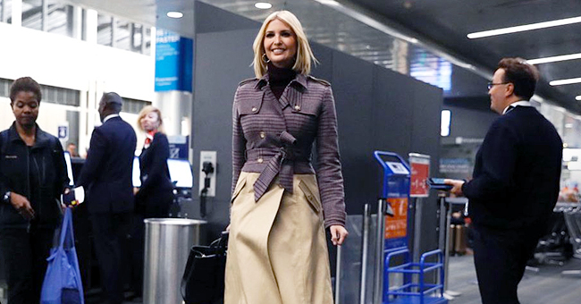 Ivanka Trump Looks Radiant in Stylish Double-Breasted Coat at Airport before Flight to Morocco