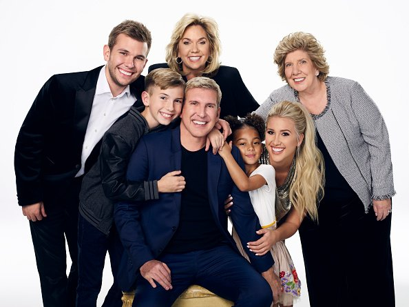 "Chase Chrisley, Grayson Chrisley, Julie Chrisley, Todd Chrisley, Chloe Chrisley, Savannah Chrisley, and Nanny Faye Chrisley during the season 6 of ""Chrisley Knows Best."" 