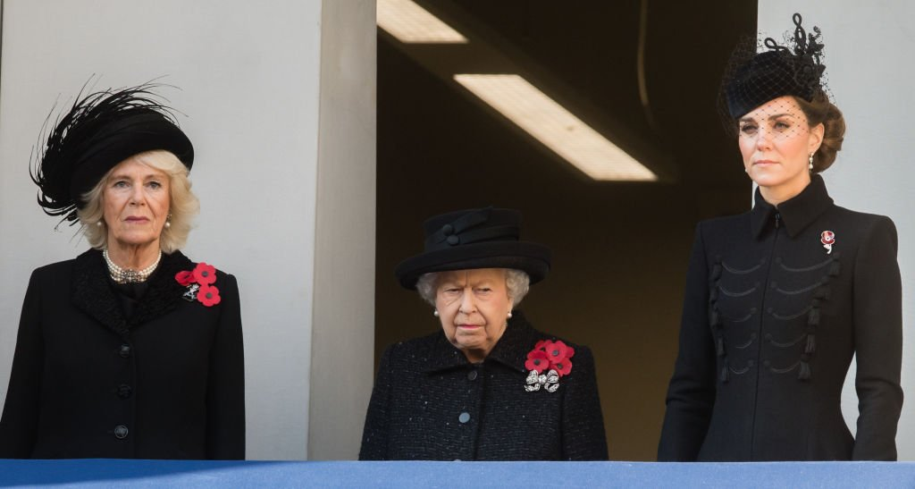 Camilla, Duchess of Cornwall, Queen Elizabeth II and Catherine, Duchess of Cambridge attend the annual Remembrance Sunday memorial at The Cenotaph. | Photo: Getty Images
