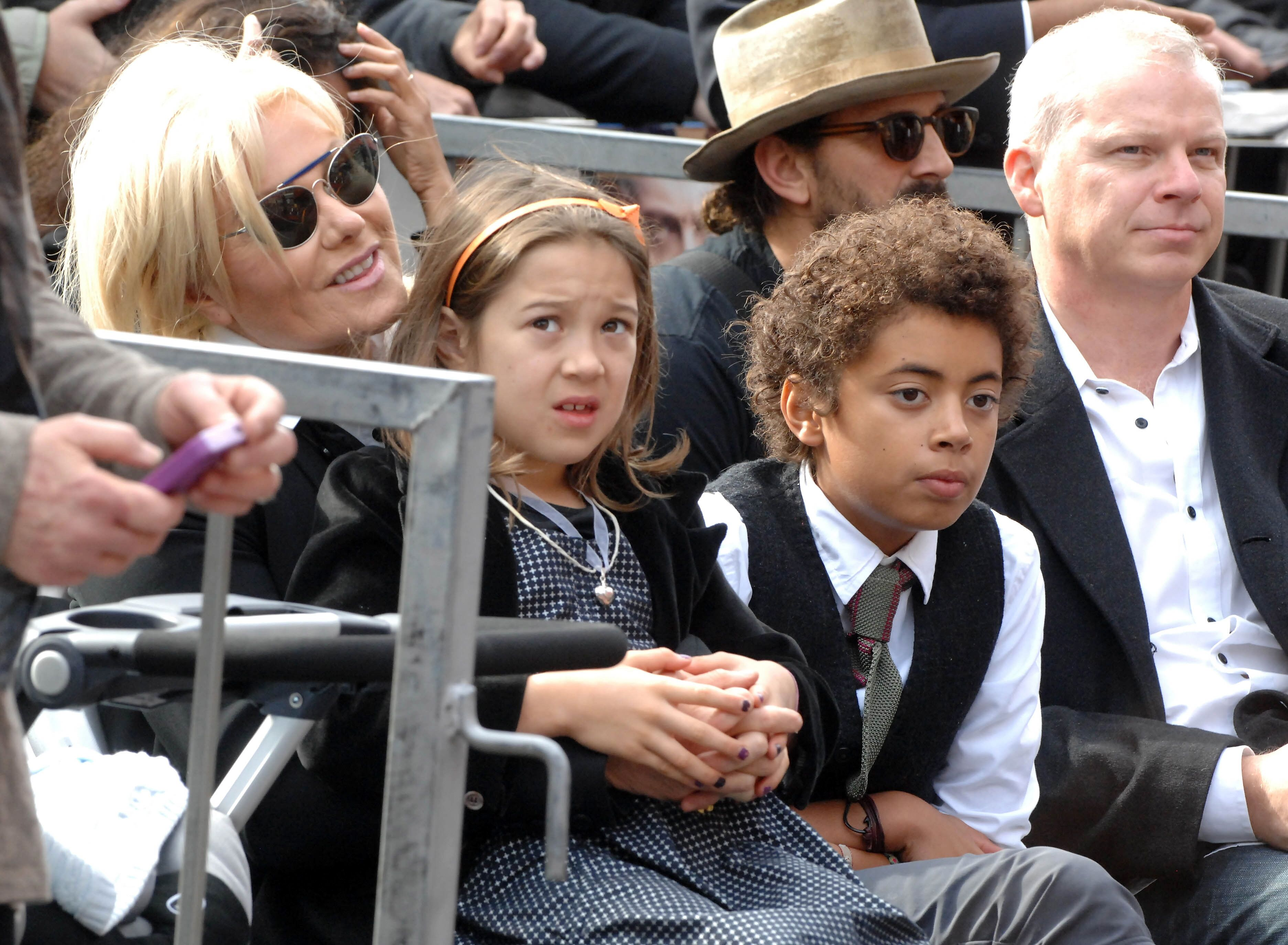 Deborra-Lee Furness and children Ava and Oscar participate in the Hugh Jackman Star ceremony at The Hollywood Walk Of Fame. | Source: Getty Images