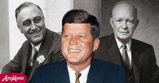 A picture collage of former US Presidents, Franklin D. Roosevelt, John F. Kennedy and Dwight D. Eisenhower | Photo: Getty Images