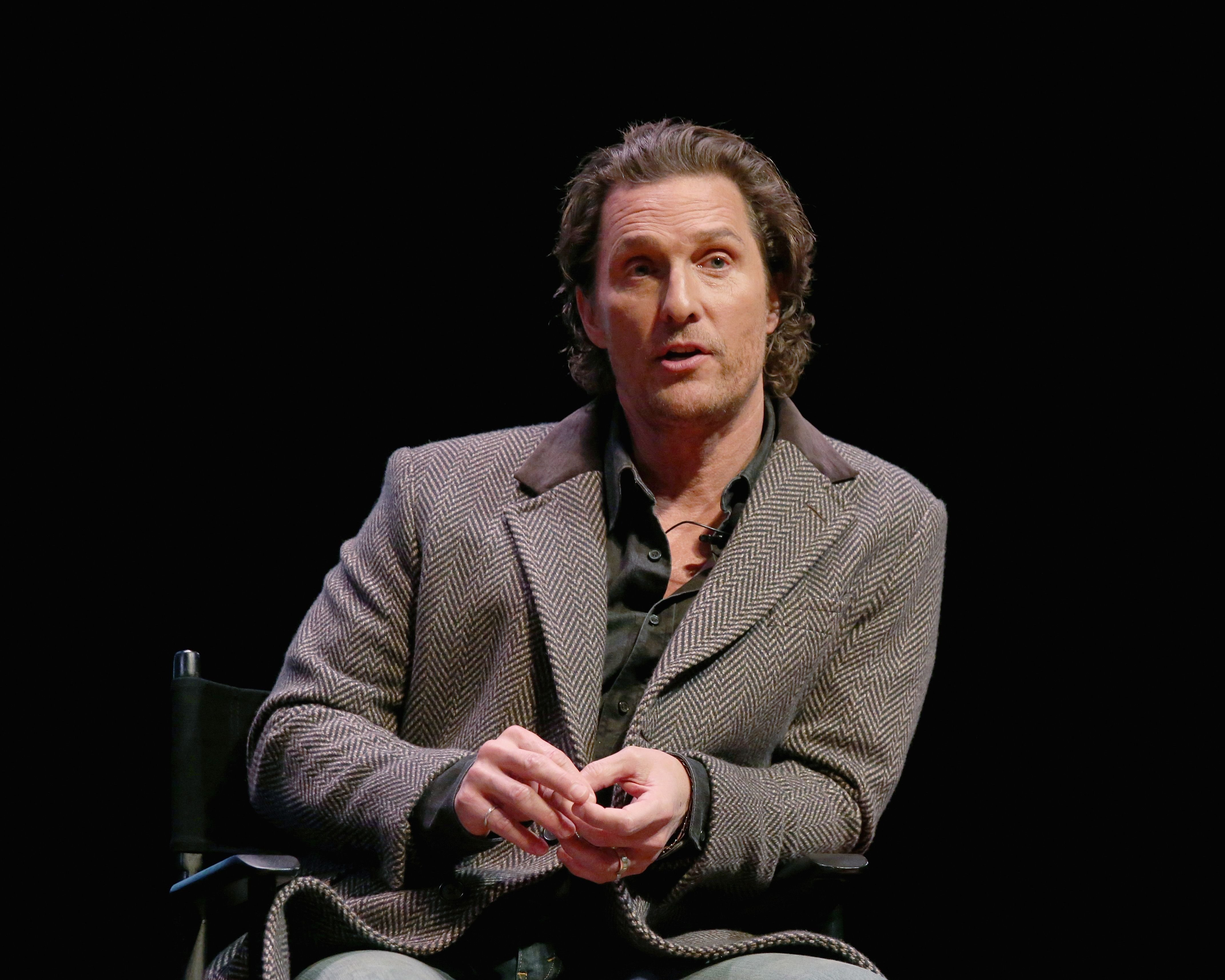 """Matthew McConaughey participates in a Q&A after a special screening of his new film """"The Gentlemen"""" at Hogg Memorial Auditorium at The University of Texas at Austin on January 21, 2020 