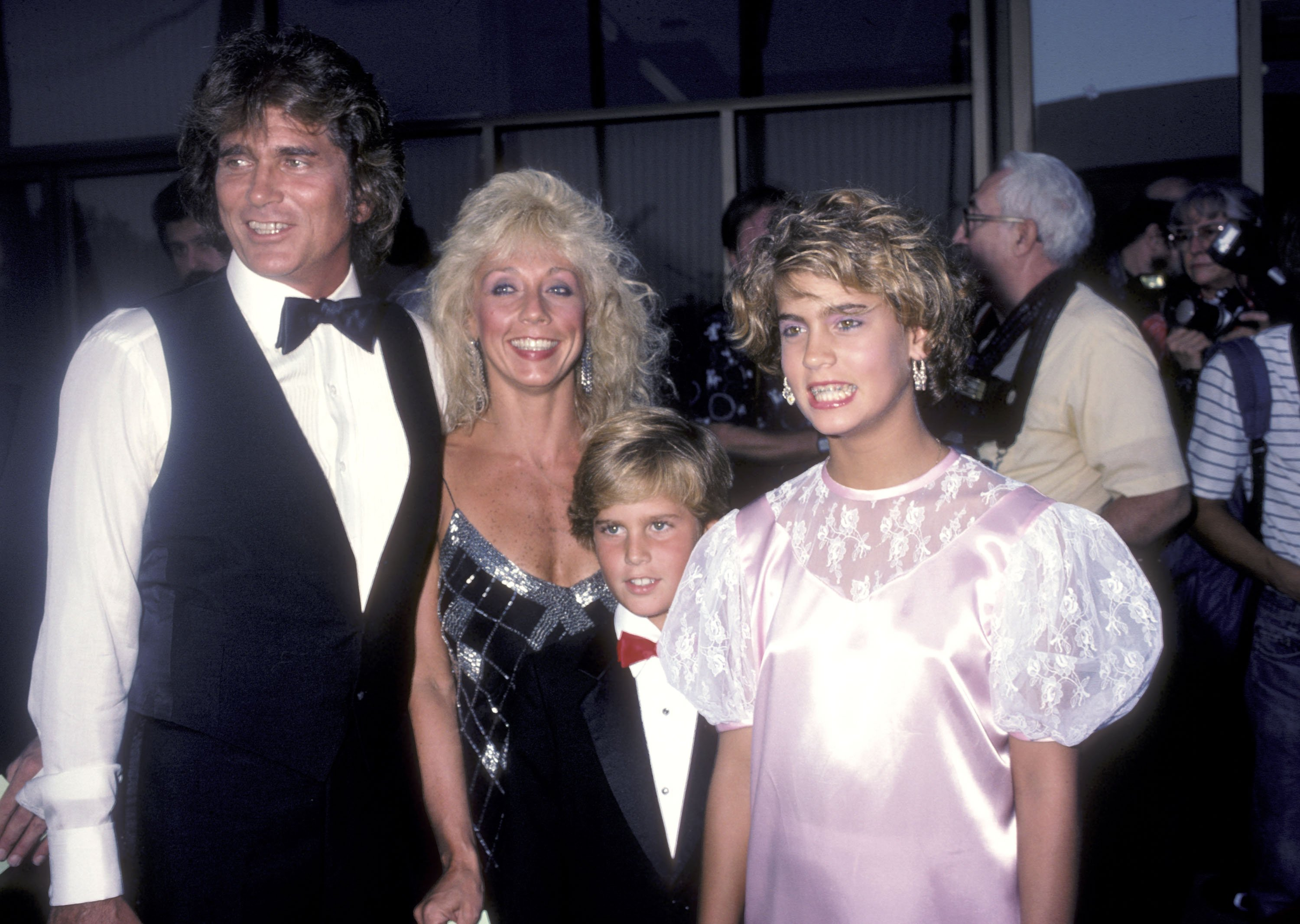 "Michael Landon, wife Cindy Landon and his kids Christopher Landon and Shawna Landon attend the ""Sam's Son"" Beverly Hills Premiere on August 15, 1984  