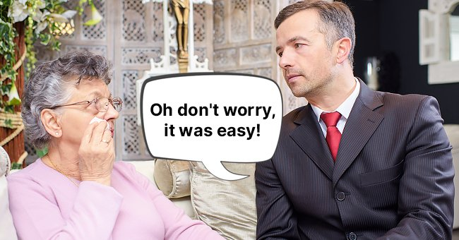 A widow talking to the director of a funeral home. | Photo: Shutterstock