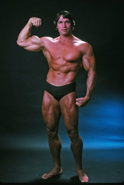 Arnold Schwarzenegger posing at the top of his form in October 1976.   Photo: Getty Images