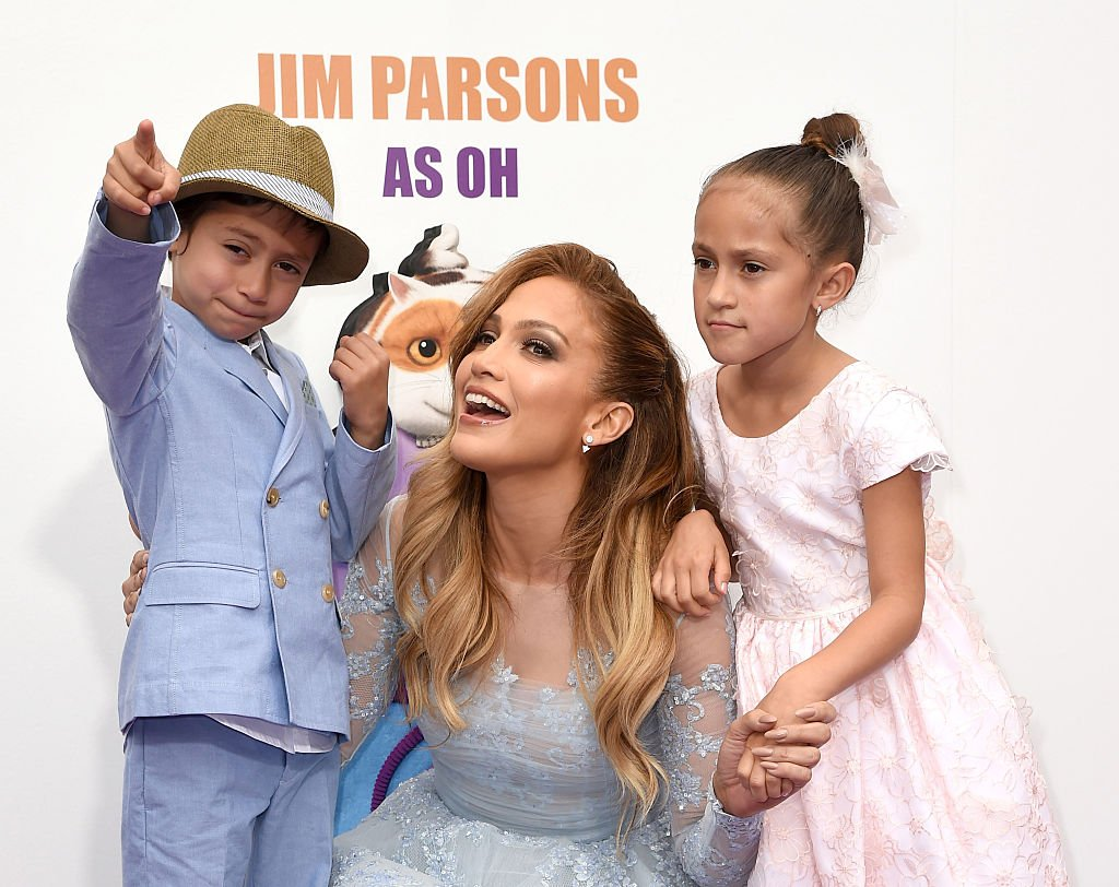 """Jennifer Lopez and her twins, Max and Emme, pictured at the premiere of Twentieth Century Fox And Dreamworks Animation's """"HOME"""", 2025, California. 