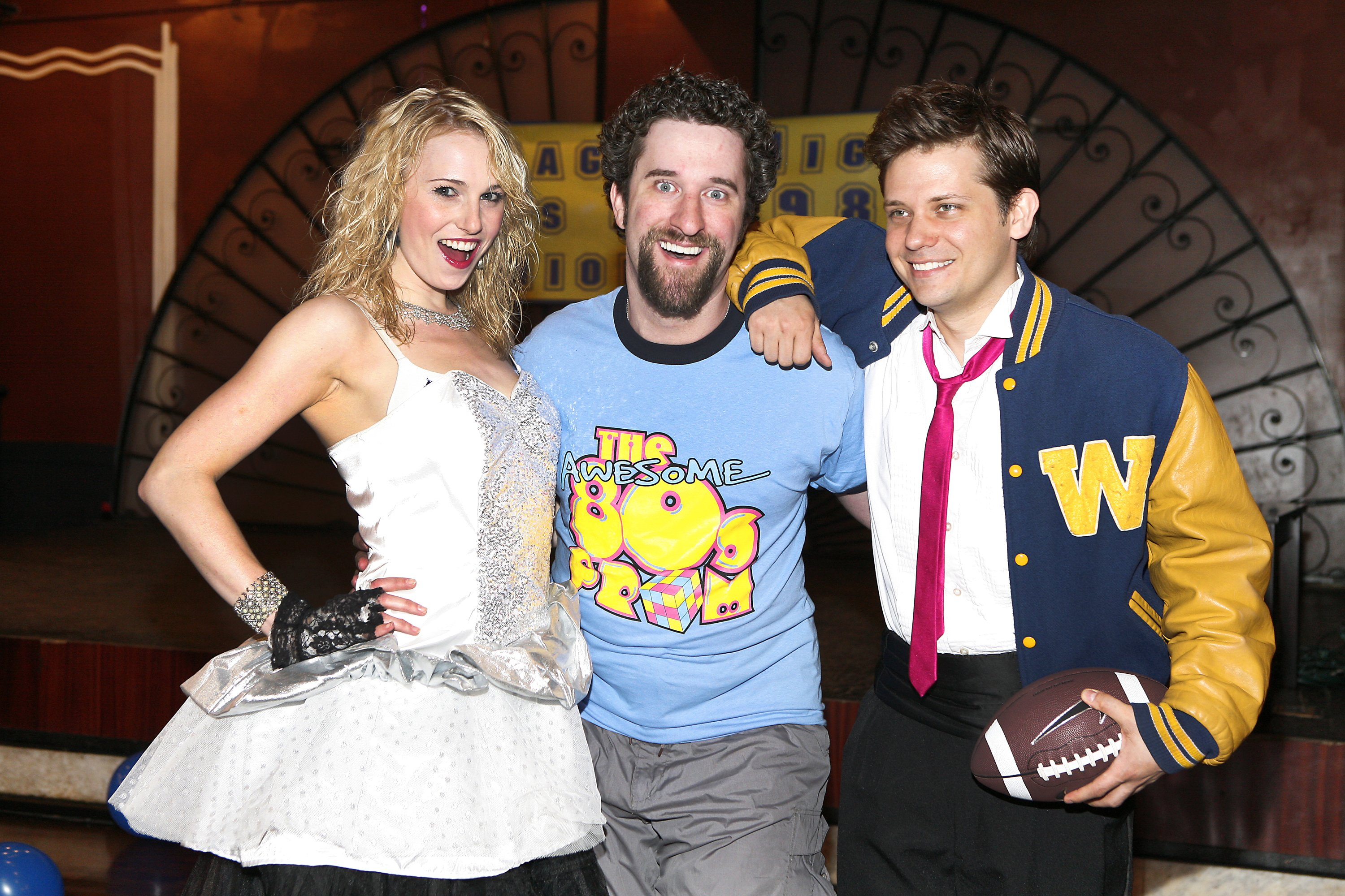 """Kate Wood -Riley, Dustin Diamond and Jason Cardew in New York City, joined the cast of """"The Awesom 80s Prom"""" in New York, May, 2010.   Photo: Getty Images."""