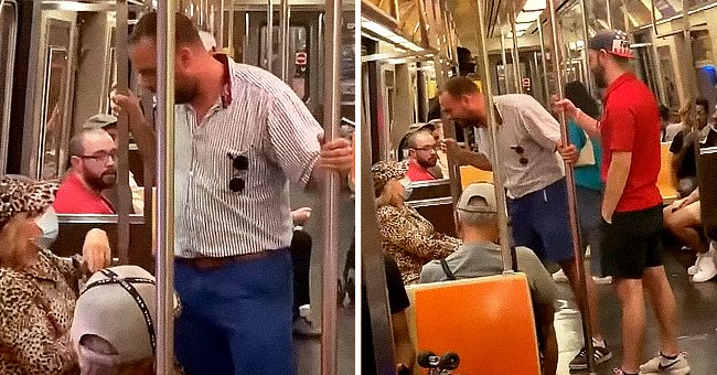 Maskless Man Caught on Video Yelling in the Face of Elderly Woman on a Train
