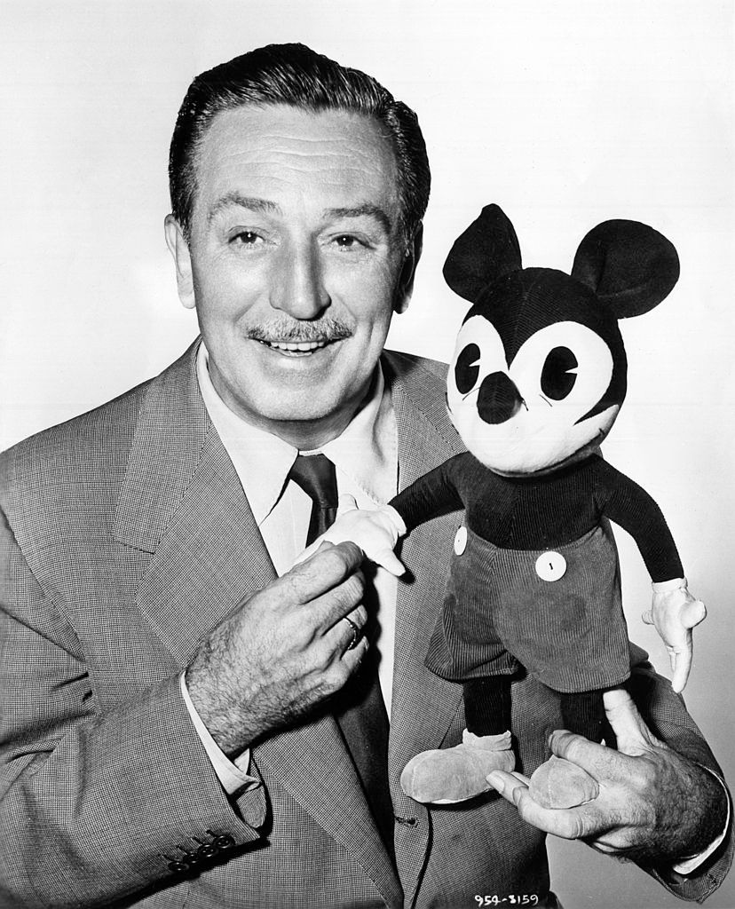 Walt Disney with a plush puppet of Mickey Mouse in 1950s | Photo: Mondadori/Getty Images