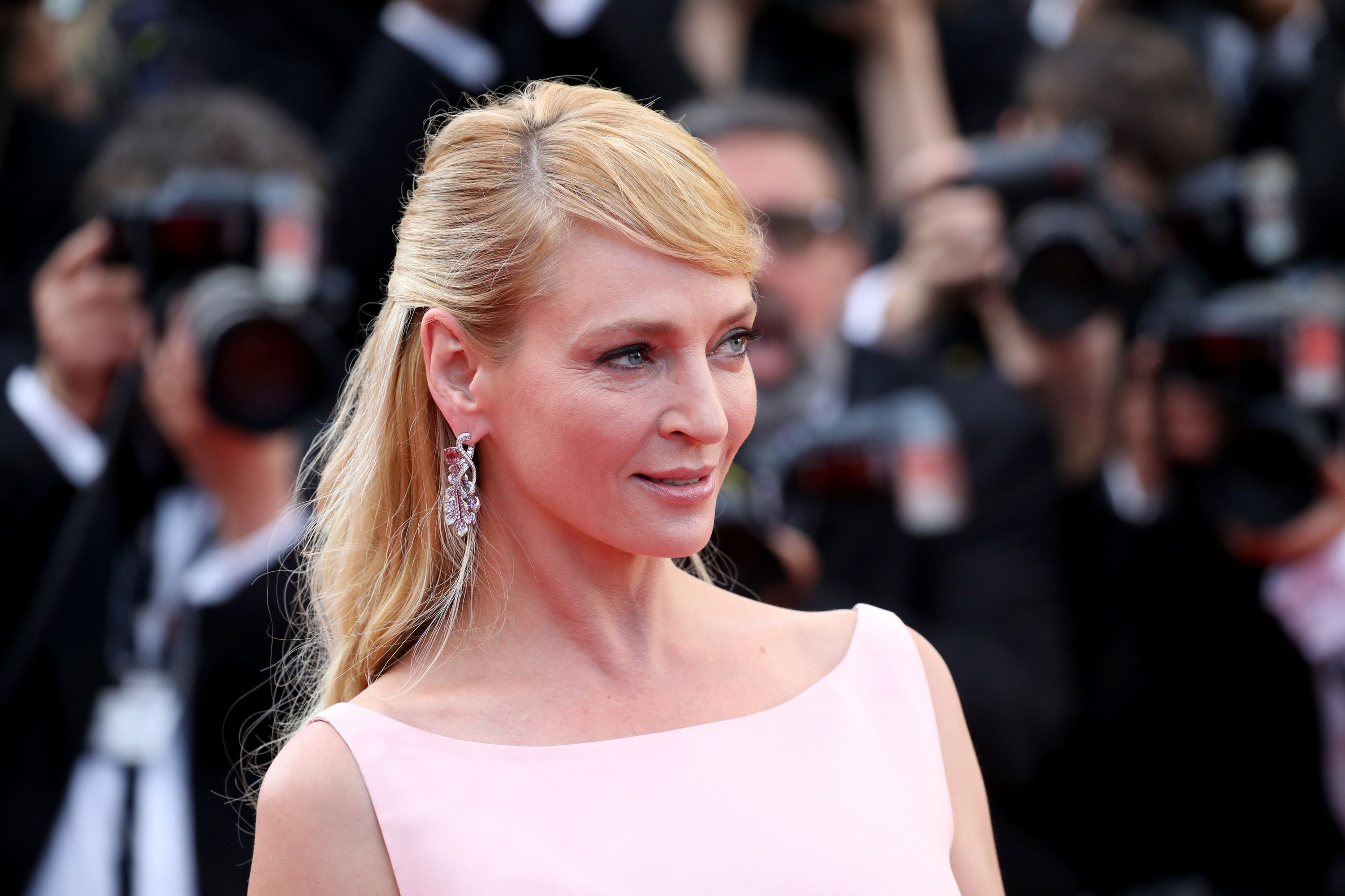 Uma Thurman attends the 70th Anniversary of the 70th annual Cannes Film Festival. | Source: Getty Images