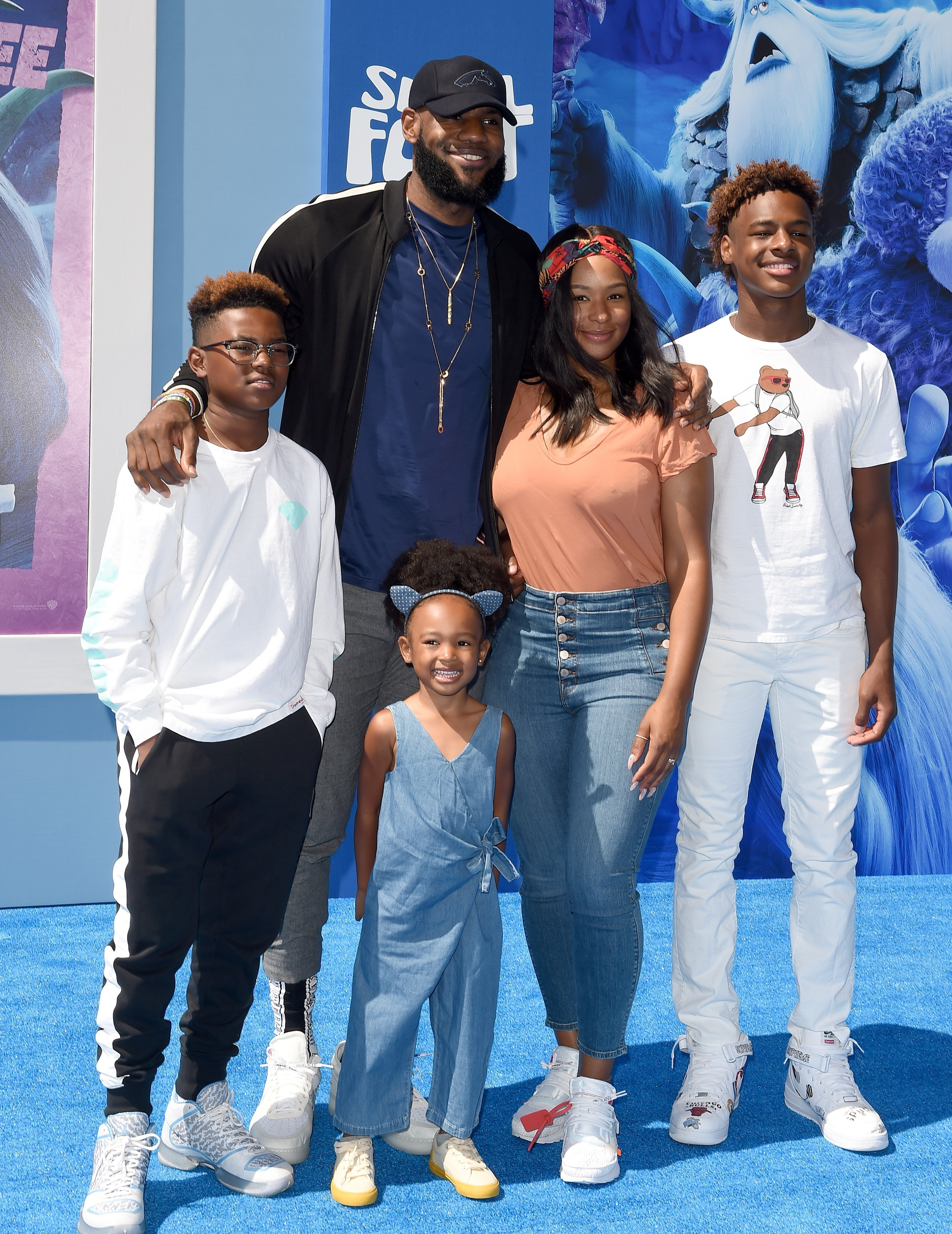 LeBron James, Savannah James, LeBron James Jr., Bryce Maximus James and Zhuri James attend the premiere of Warner Bros. Pictures' 'Smallfoot' at Regency Village Theatre | Photo: Getty Image