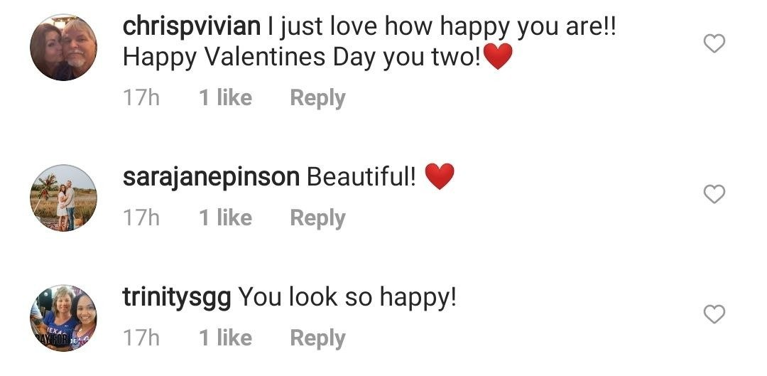 Fans' comments on Miranda Lambert and her Spouse's valentine picture. | Photo: Instagram/mirandalambert