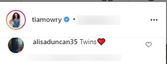 Screenshot of a comment on Tia Mowry's Instagram post of her husband and daughter. | Source: Instagram.com/TiaMowry