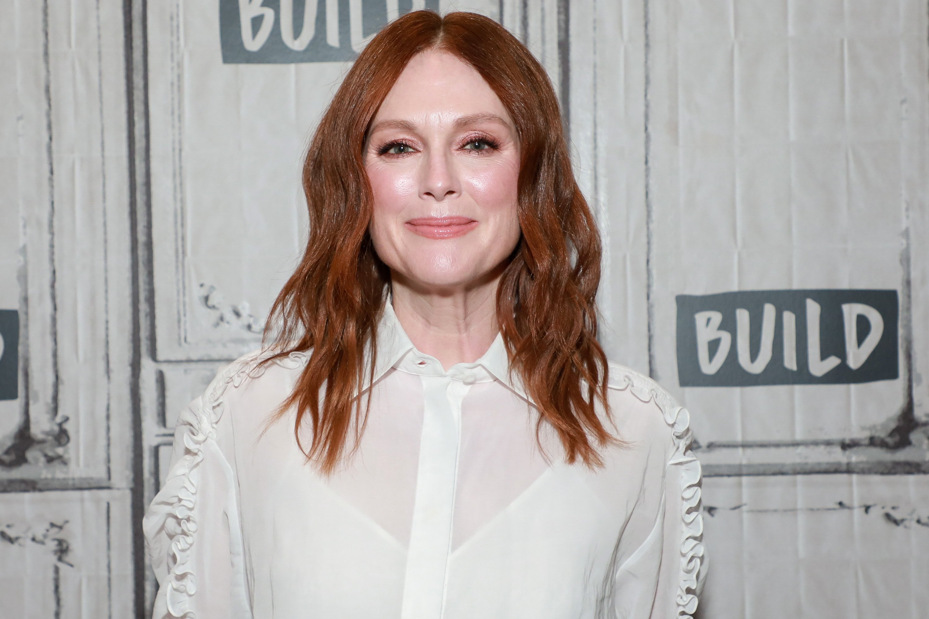 "Oscar-winning actress Julianne Moore attends the 2019 online show called ""Build Series."" 