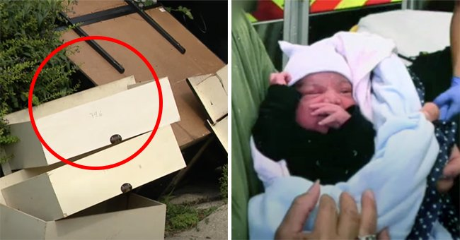 The dresser in Northwest Side alley in Chicago wher the baby was found | Photo:  youtube.com/WGN News