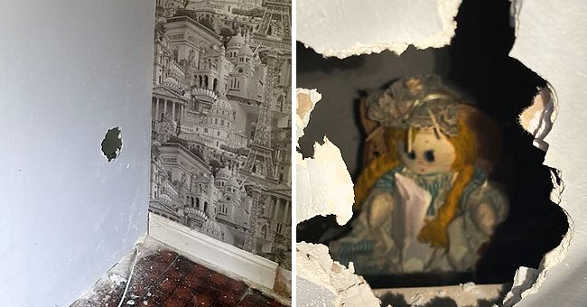 A creepy doll holding an eerie message was discovered behind a boarded wall by a new homeowner   Photo: Twitter/orlandosentinel & Twitter/dailystar