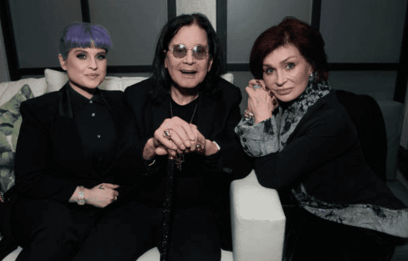 "Kelly Osbourne, Ozzy Osbourne and Sharon Osbourne sit an couch while making an appearance at the after party for ""A Million Little Pieces"" on December 04, 2019, in West Hollywood, California 
