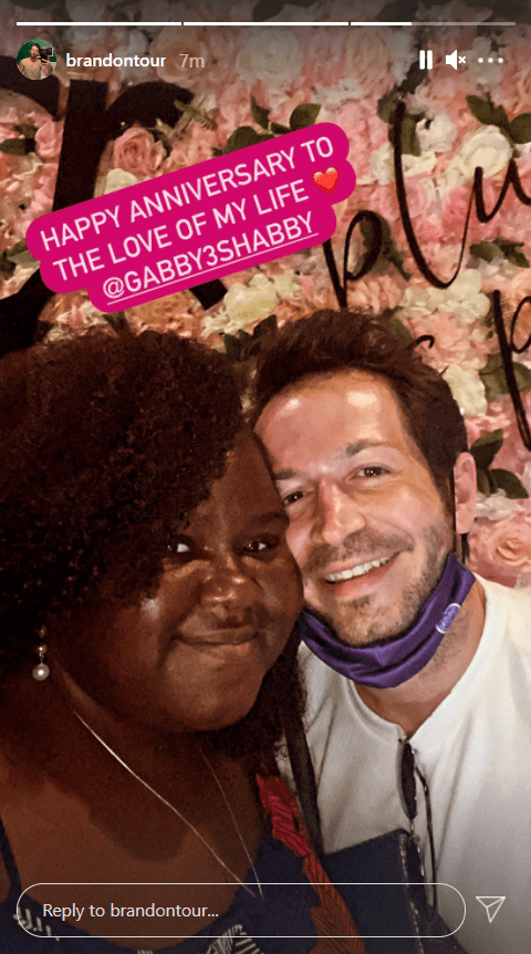 Brandon Frankel sharing an Instagram story of him and his fiancée Gabourey Sidibe for their 2nd anniversary. | Source: Instagram/brandontour