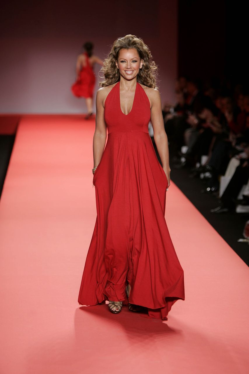 Vanessa Williams modeling for the Heart Truth Red Dress Collection during the Olympus Fashion Week at Bryant Park February 4, 2004 in New York City. | Source: Getty Images