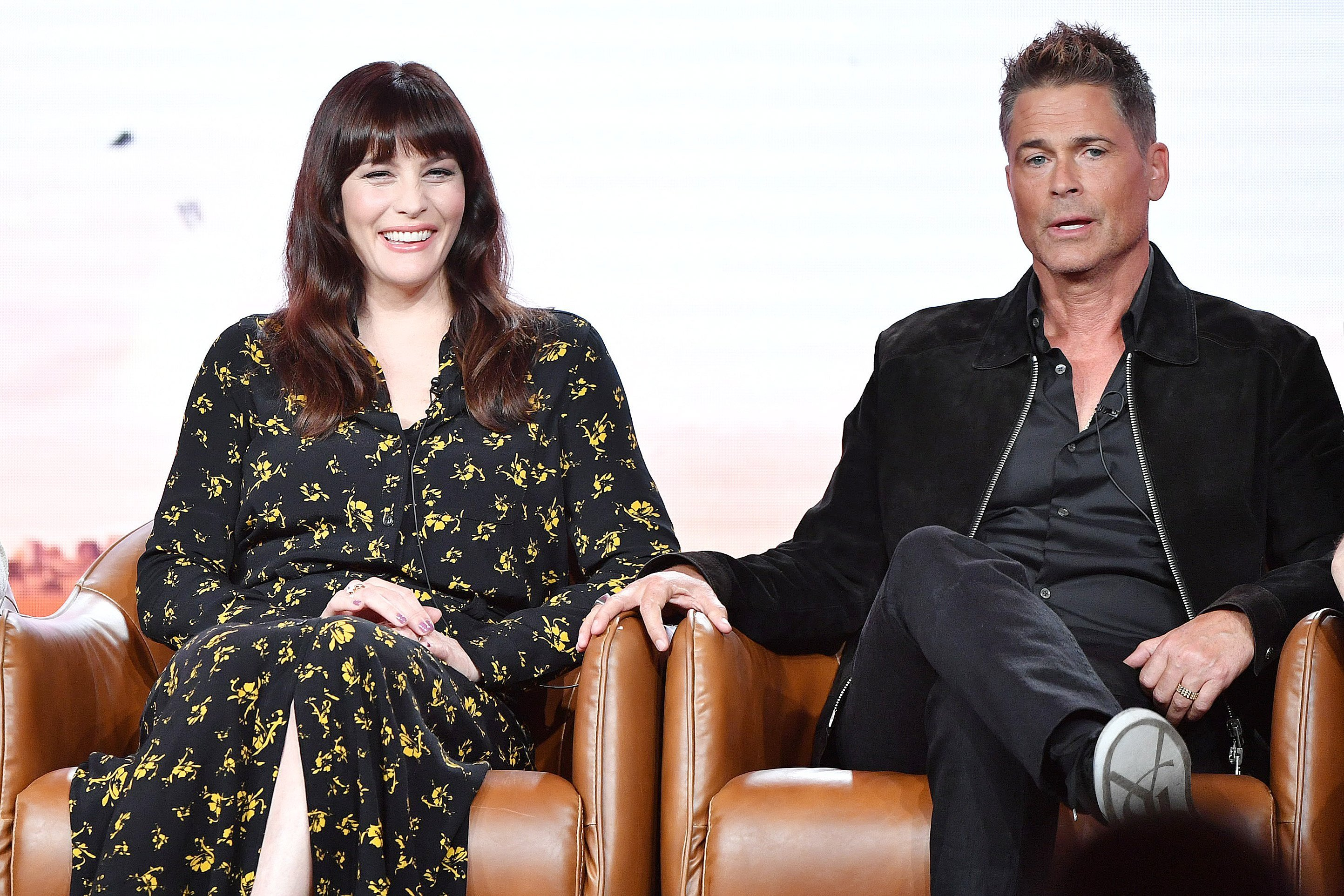 Liv Tyler and Rob Lowe  speak during the 2020 Winter TCA Press Tour at The Langham Huntington, Pasadena on January 07, 2020, in Pasadena, California. | Source: Getty Images.