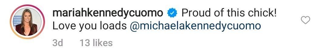 A screenshot of Mariah Cuomo's comment on Michaela Cuomo's post on her instagram page   Photo: instagram.com/p/CPrKJsADsbn/