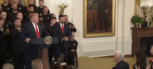 Donald Trump delivers a speech durin gthe Wounded Warrior Project soldier drive held at the White House on April 18, 2019. | Source: YouTube/ TIME