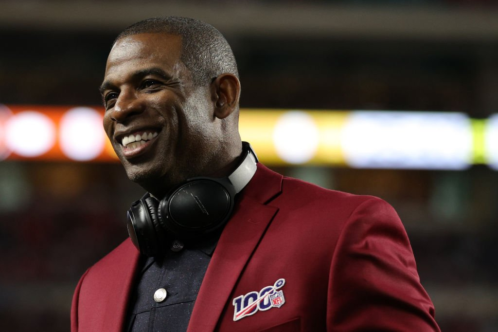 Deion Sanders on the field prior to Super Bowl LIV between the San Francisco 49ers and the Kansas City Chiefs at Hard Rock Stadium on February 02, 2020 | Photo: Getty Images