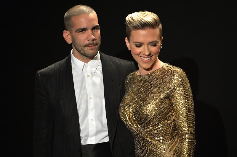 Romain Dauriac and Scarlett Johansson at Milk Studios in Los Angeles on February 20, 2015   Photo: Getty Images