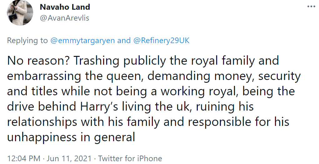 """A Twitter user comments on the Duchess Meghan article by """"Refinery29"""" on June 11, 2021 