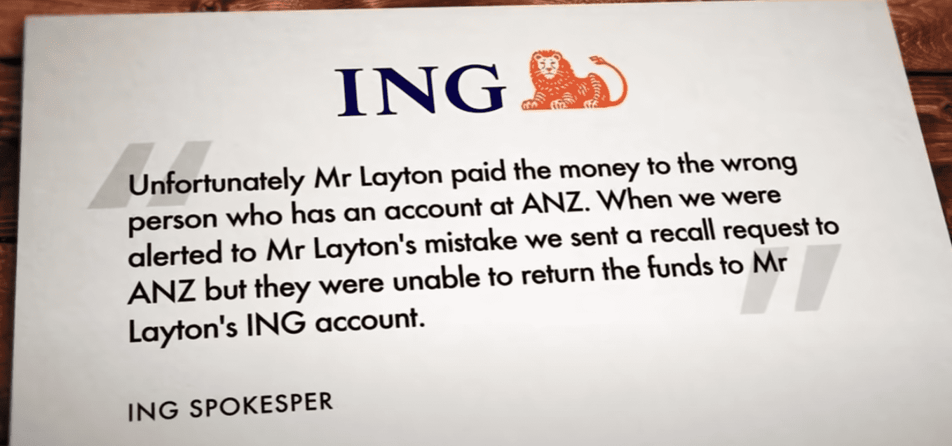 A letter from the bank that indicates they cannot return the elderly man's money after he paid it to the wrong account | Photo: Youtube/A Current Affair