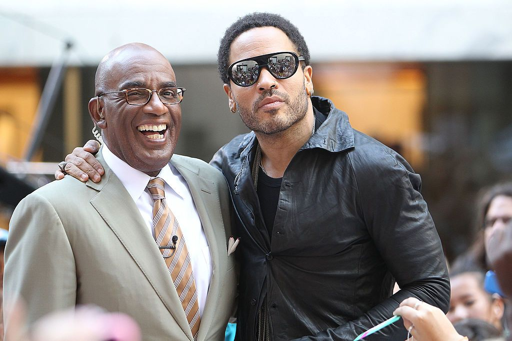 "Lenny Kravitz with ""Today Show"" host Al Roker at Rockefeller Plaza in 2011 in New York City 