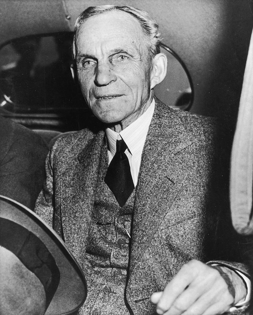 Henry Ford sitting in the back seat of an automobile after a lunch meeting with President Franklin D Roosevelt on April 27th,1938 | Photo: Getty Images