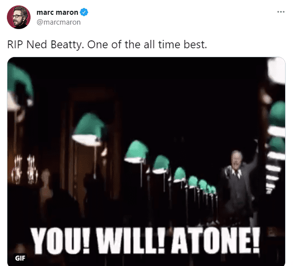 Marc Maron mourns the death of Ned Beatty on June 14, 2021 | Photo: Twitter/@marcmaron